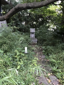 wooded area with footpath to a small stone temple